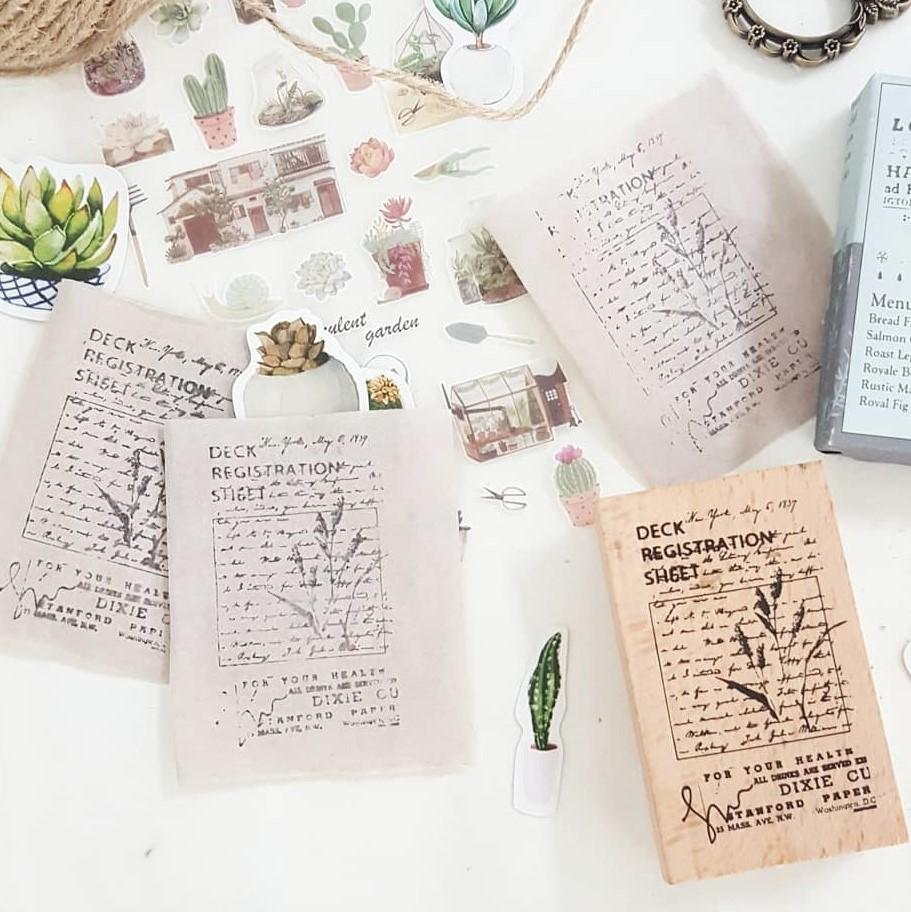 Botanical Wooden Stamp - Happiness Idea