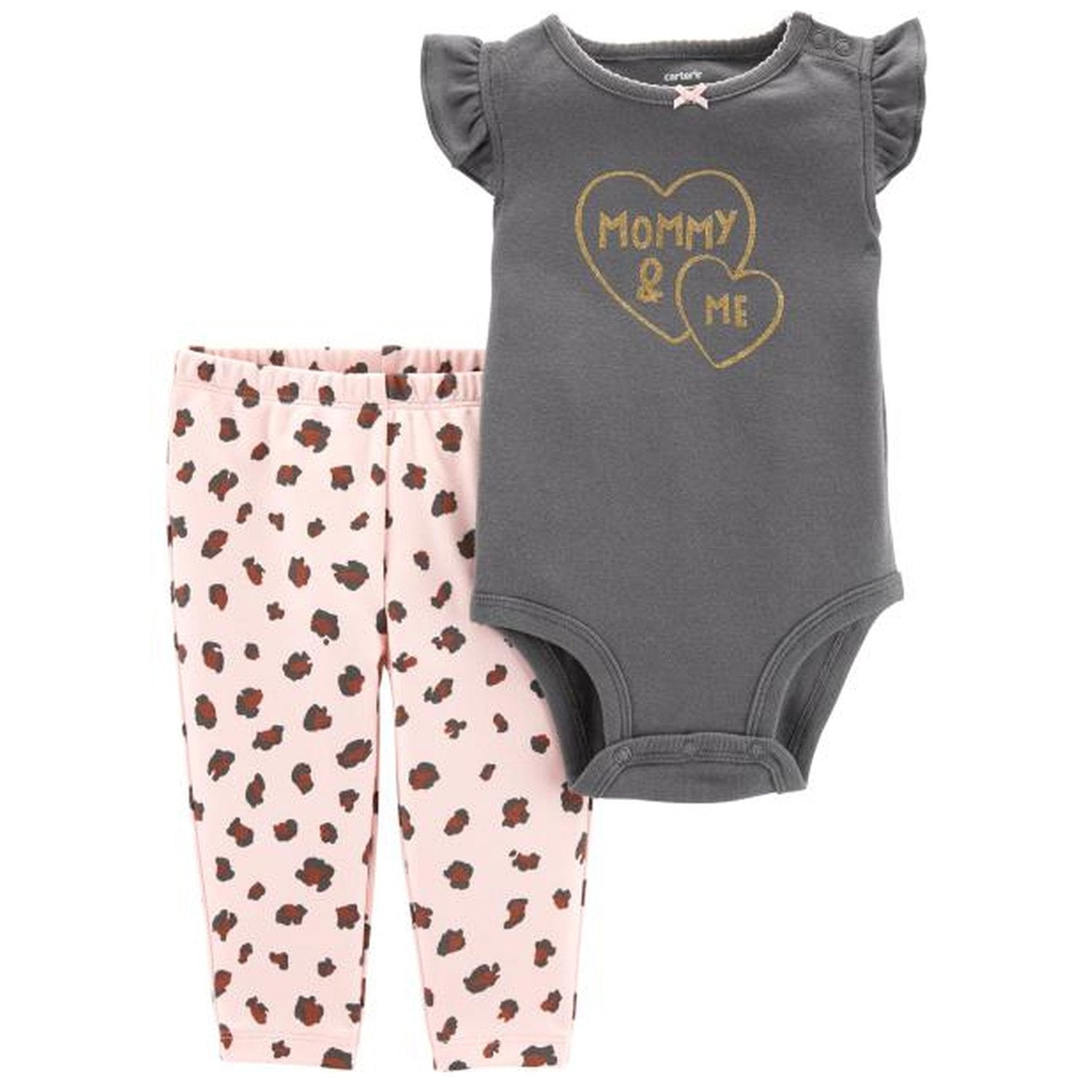 Carter's 2 Pcs Mommy & Me Bodysuit Pant Set - Happiness Idea