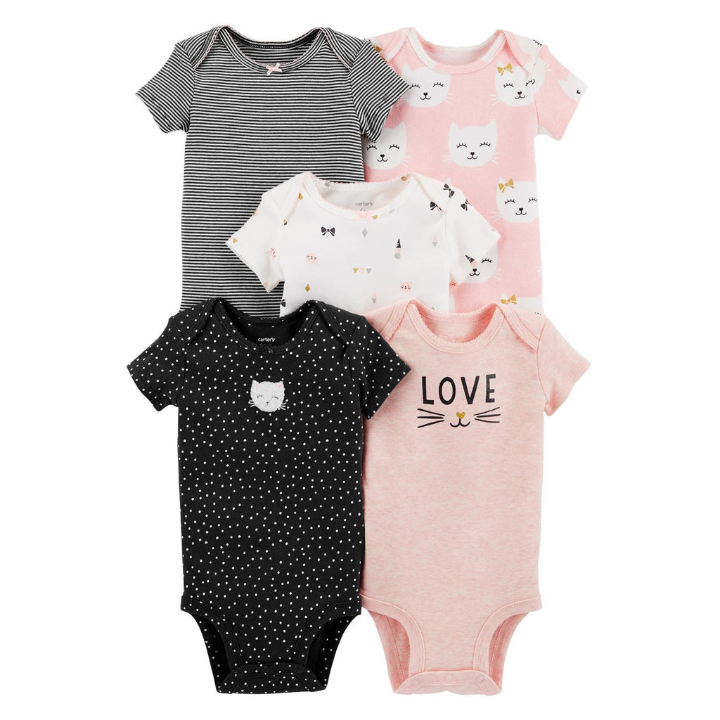 Carter's 5-Pack Kitty Original Bodysuits - Happiness Idea