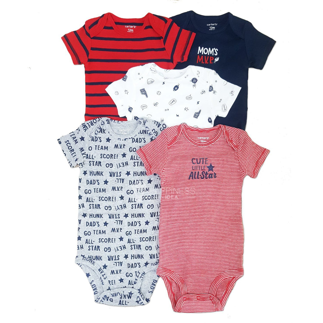 Carter's 5-Pack Sports Original Bodysuits - Happiness Idea