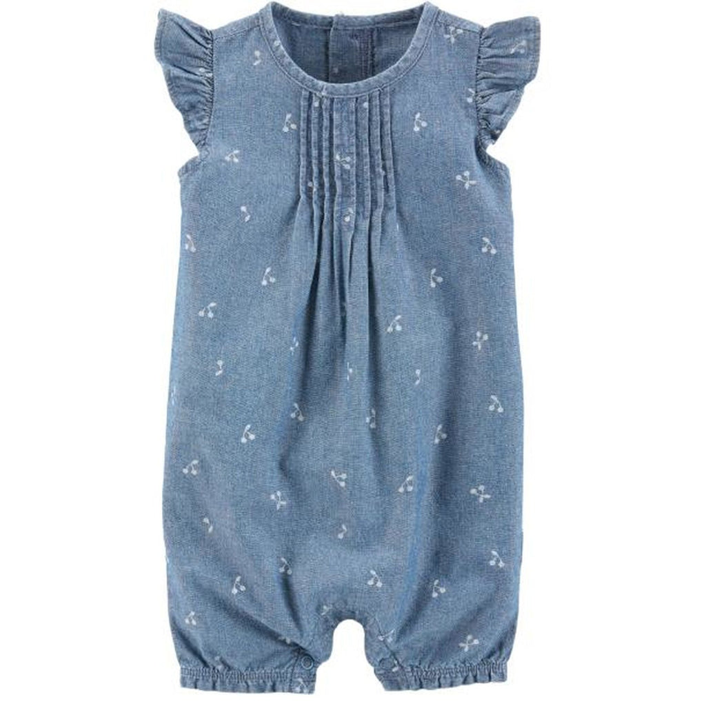 Carter's Flutter-Sleeve Chambray Romper - Happiness Idea