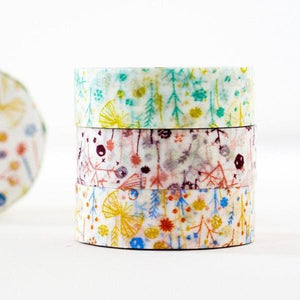 Classiky 倉敷意匠 - Washi Tape (Shigemi Floral 3 pcs set) - Happiness Idea