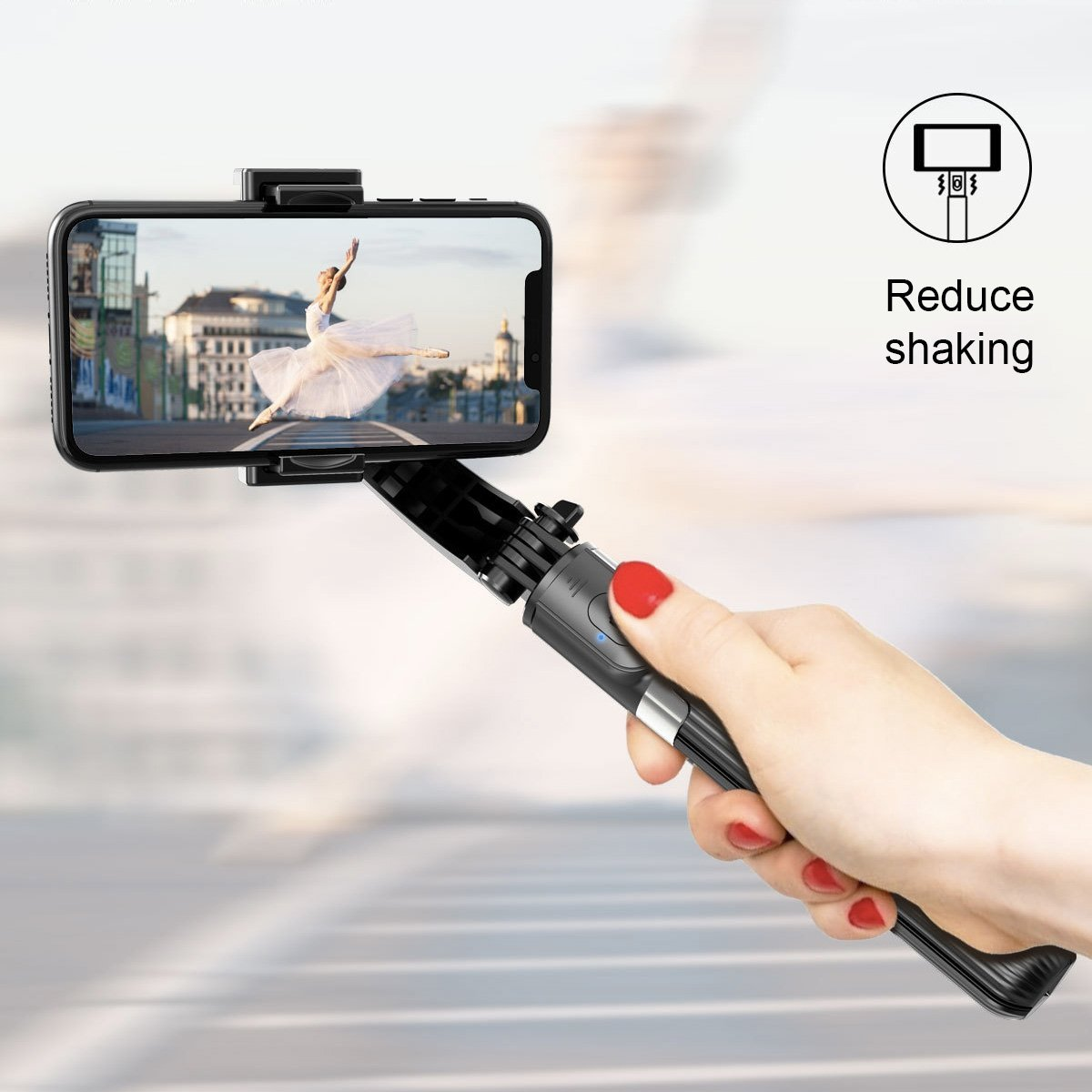Gimbal Selfie Stick / Tripod (one-axis) - Happiness Idea
