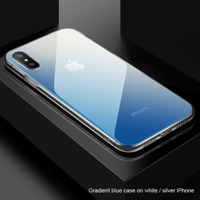 Gradient Glass Case (For white / silver colour iPhone only) - Happiness Idea