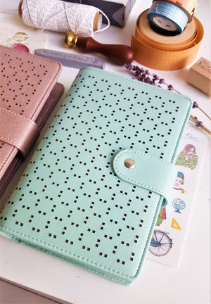 Hollow Faux Leather A6 Planner - Happiness Idea