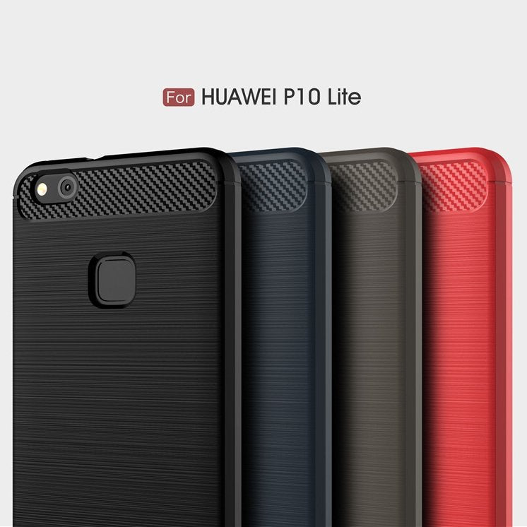 Huawei P10 Lite Brushed Carbon Fiber Design Case - Happiness Idea