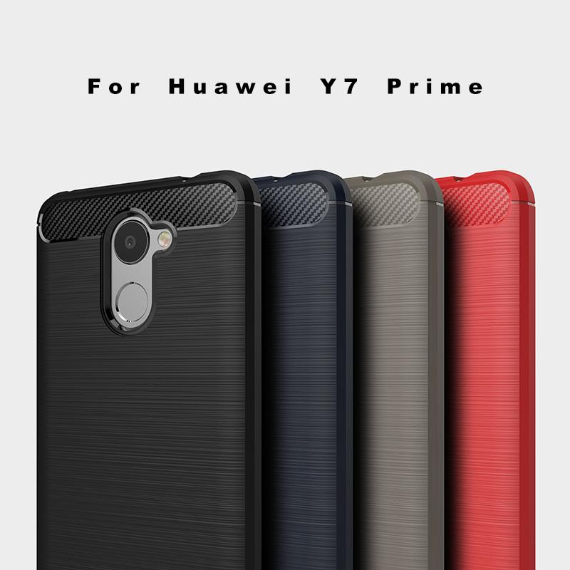 Huawei Y7 Prime Brushed Carbon Fiber Design Case - Happiness Idea