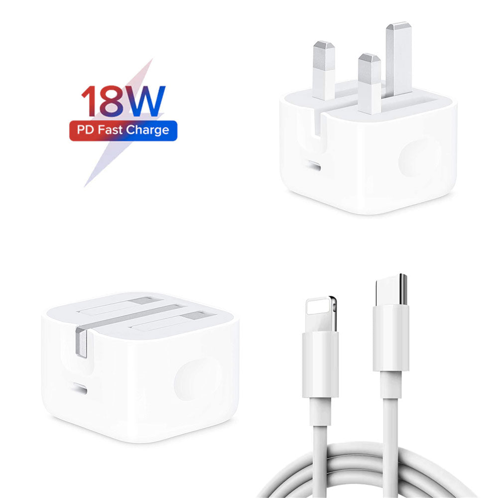 18W PD Fast Charge Power Adapter + Cable Bundle for iPhone