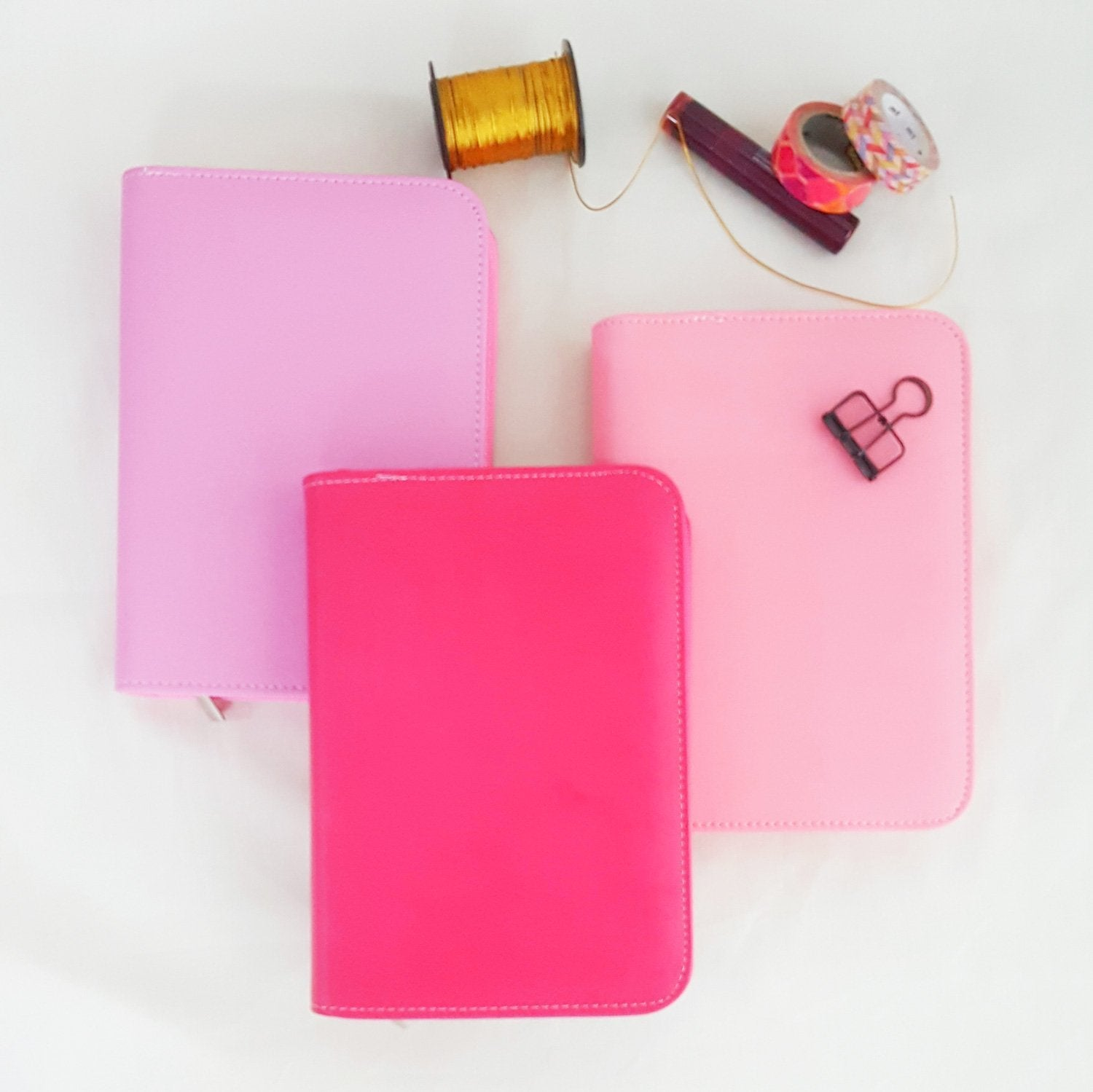 Pink Lady PU leather A6 Zipper Planner - Happiness Idea