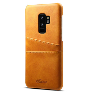 Retro PU Leather Wallet Back Cover For Galaxy S9 / S9+ - Happiness Idea