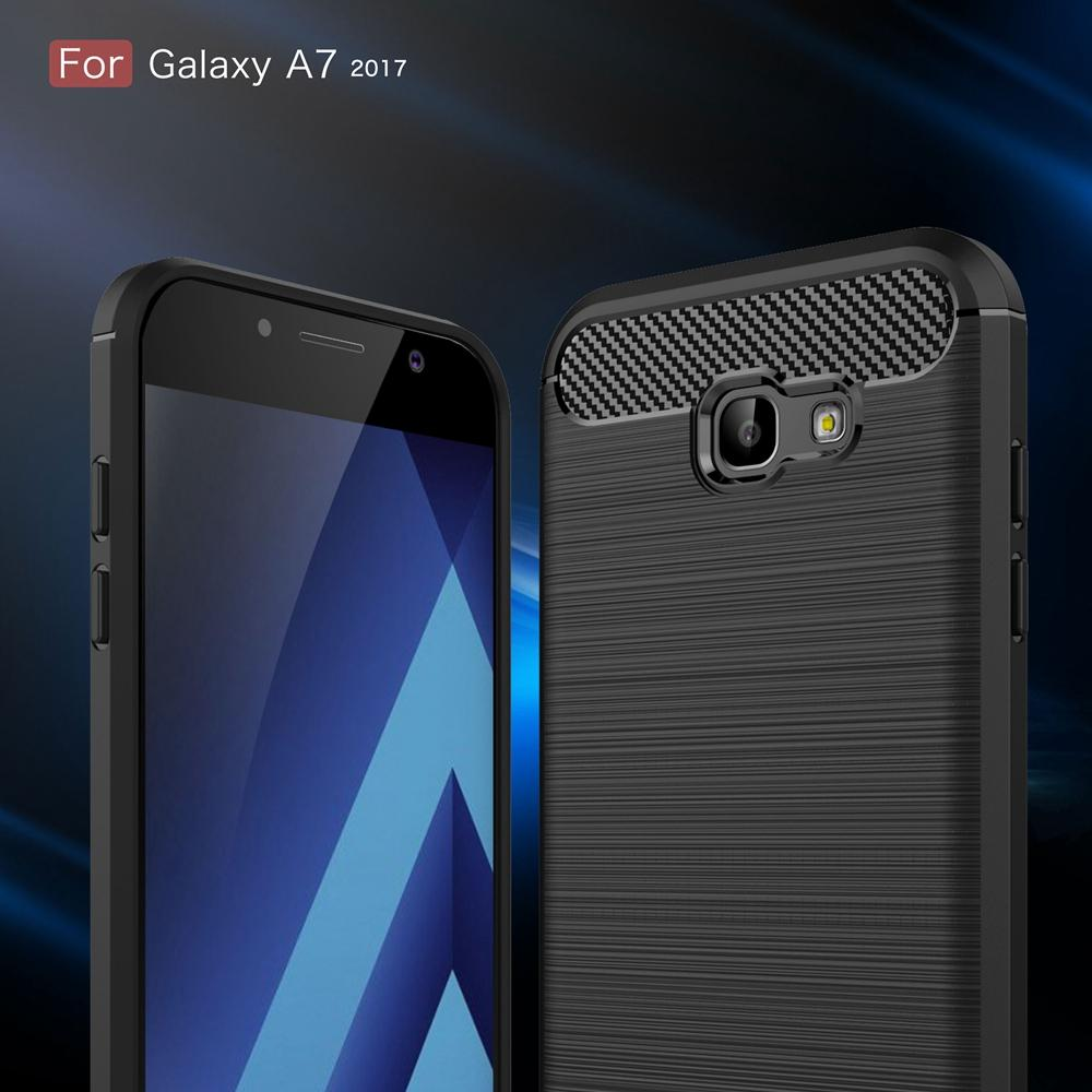 Samsung A7 (2017) Brushed Carbon Fiber Design Case - Happiness Idea