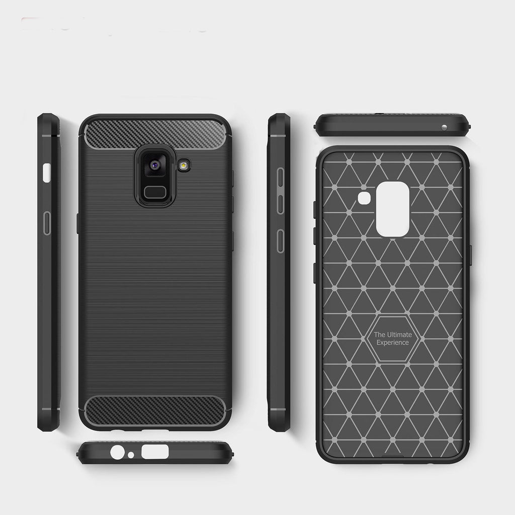 Samsung A8 (2018) Brushed Carbon Fiber Design Case - Happiness Idea