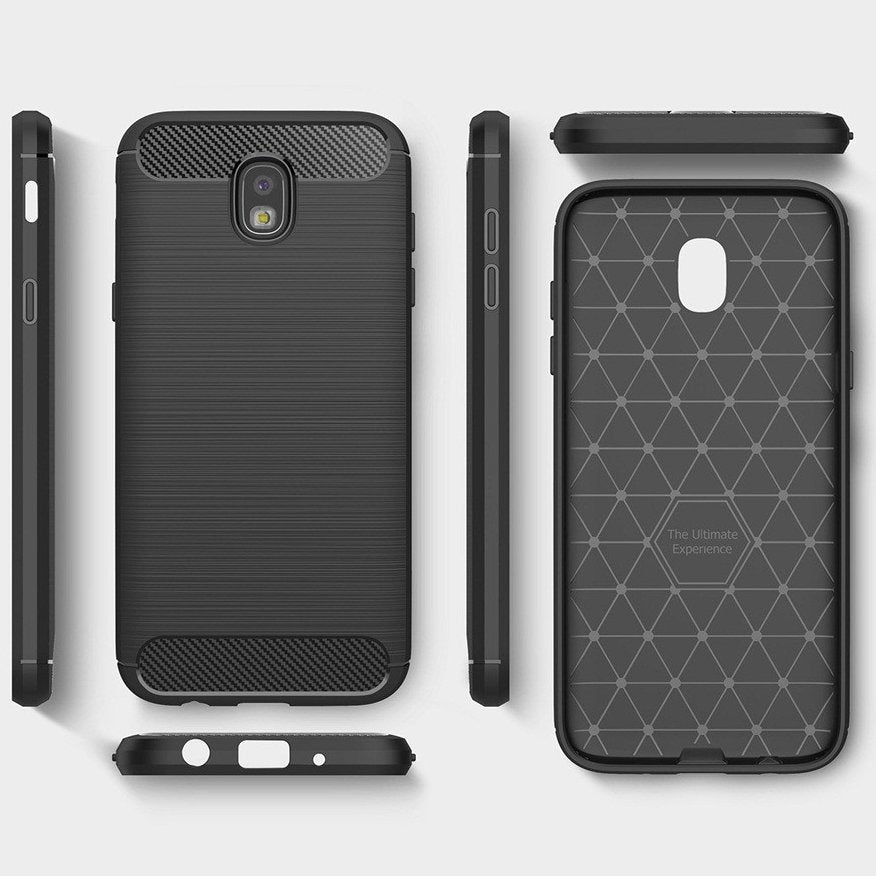 Samsung J3 Pro Brushed Carbon Fiber Design Case - Happiness Idea