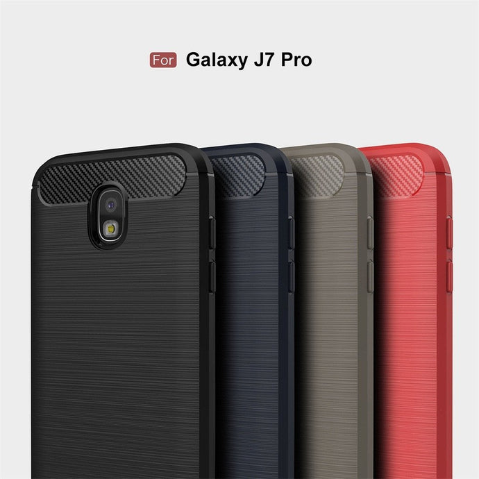 Samsung J7 Pro Brushed Carbon Fiber Design Case - Happiness Idea