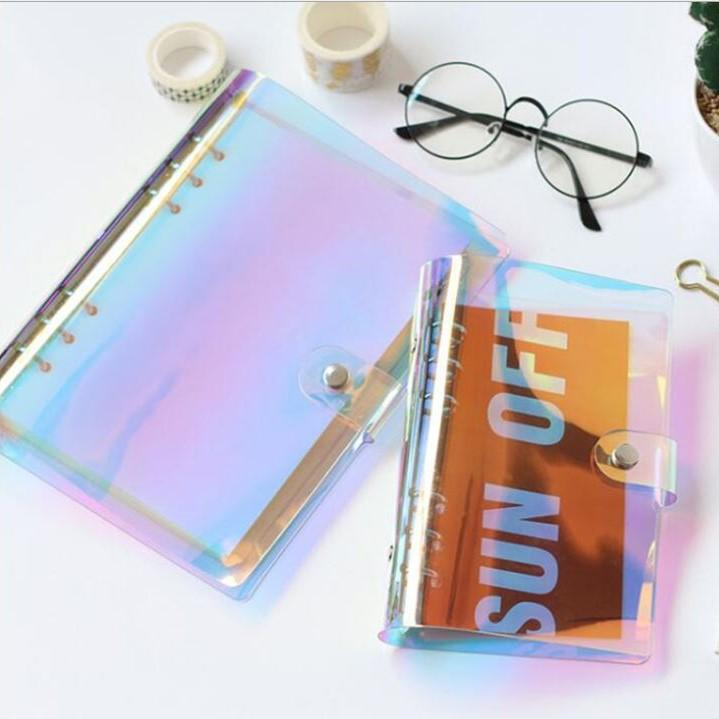 Soft PVC 6-Hole Ring Binder Rainbow Holographic Cover - Happiness Idea