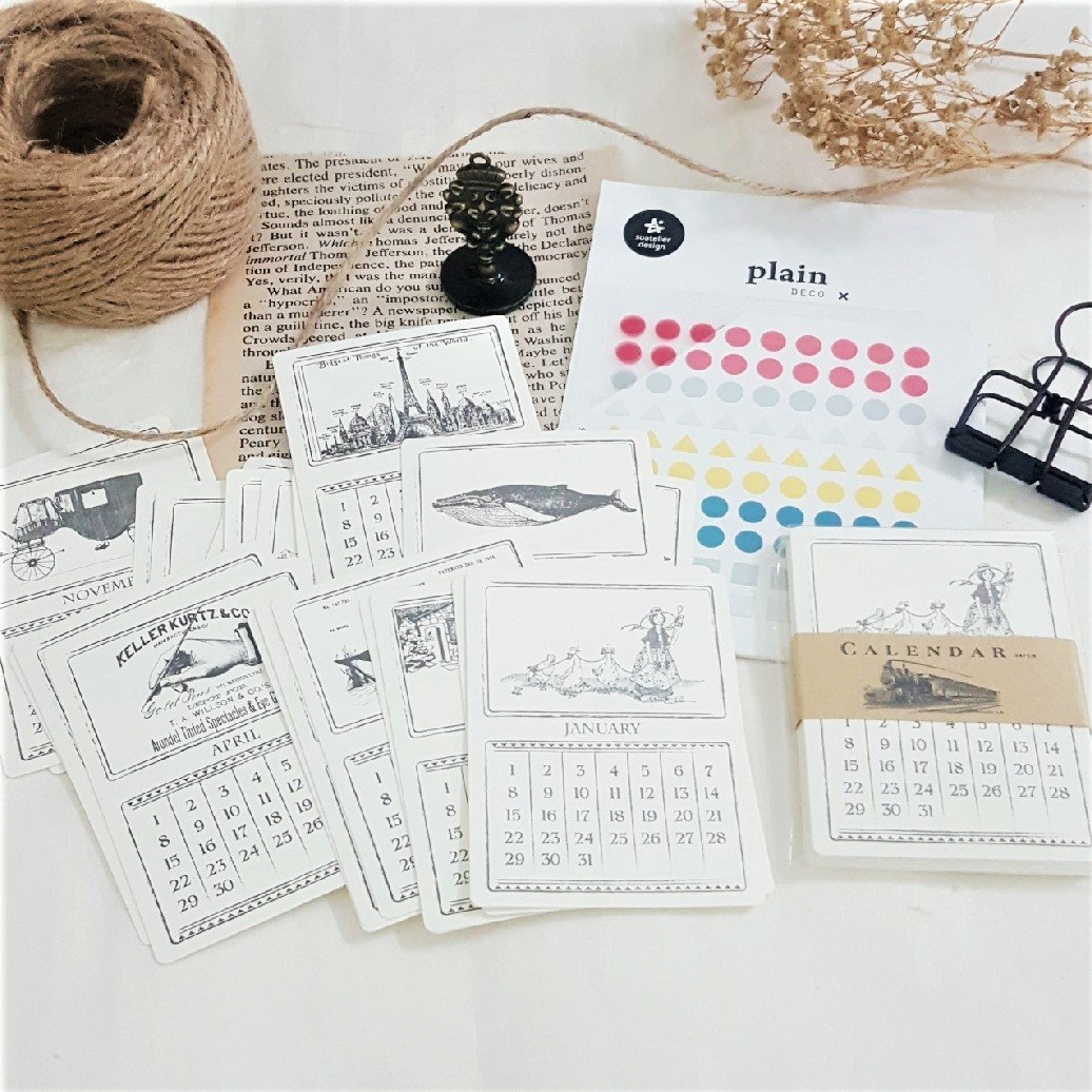 Vintage Calendar Set - Happiness Idea