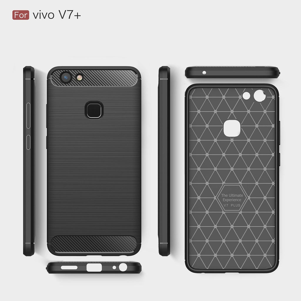 Vivo V7 Plus Brushed Carbon Fiber Design Case - Happiness Idea