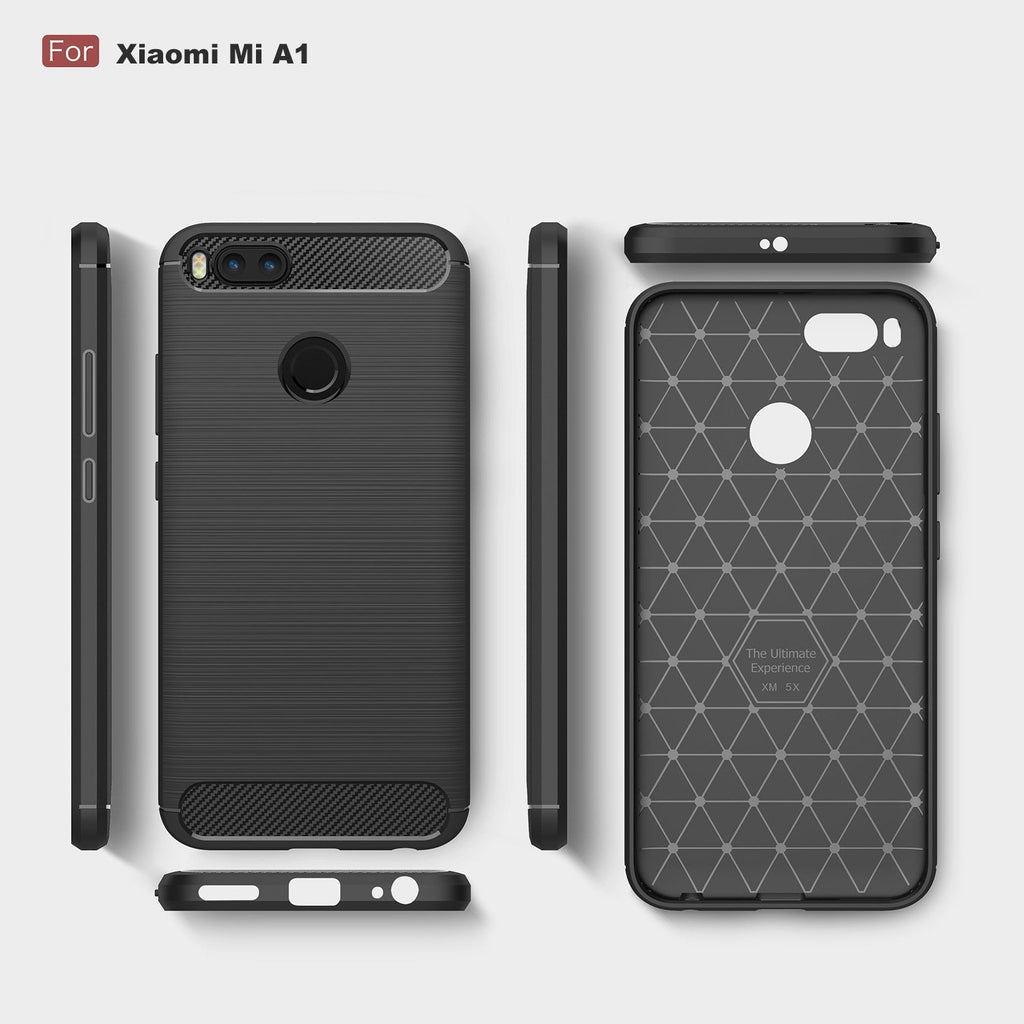 Xiaomi Mi A1 Brushed Carbon Fiber Design Case - Happiness Idea