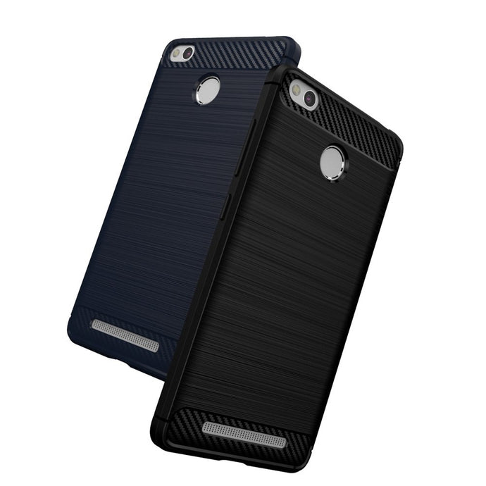 Xiaomi Redmi 3S Brushed Carbon Fiber Design Silicone Case - Happiness Idea