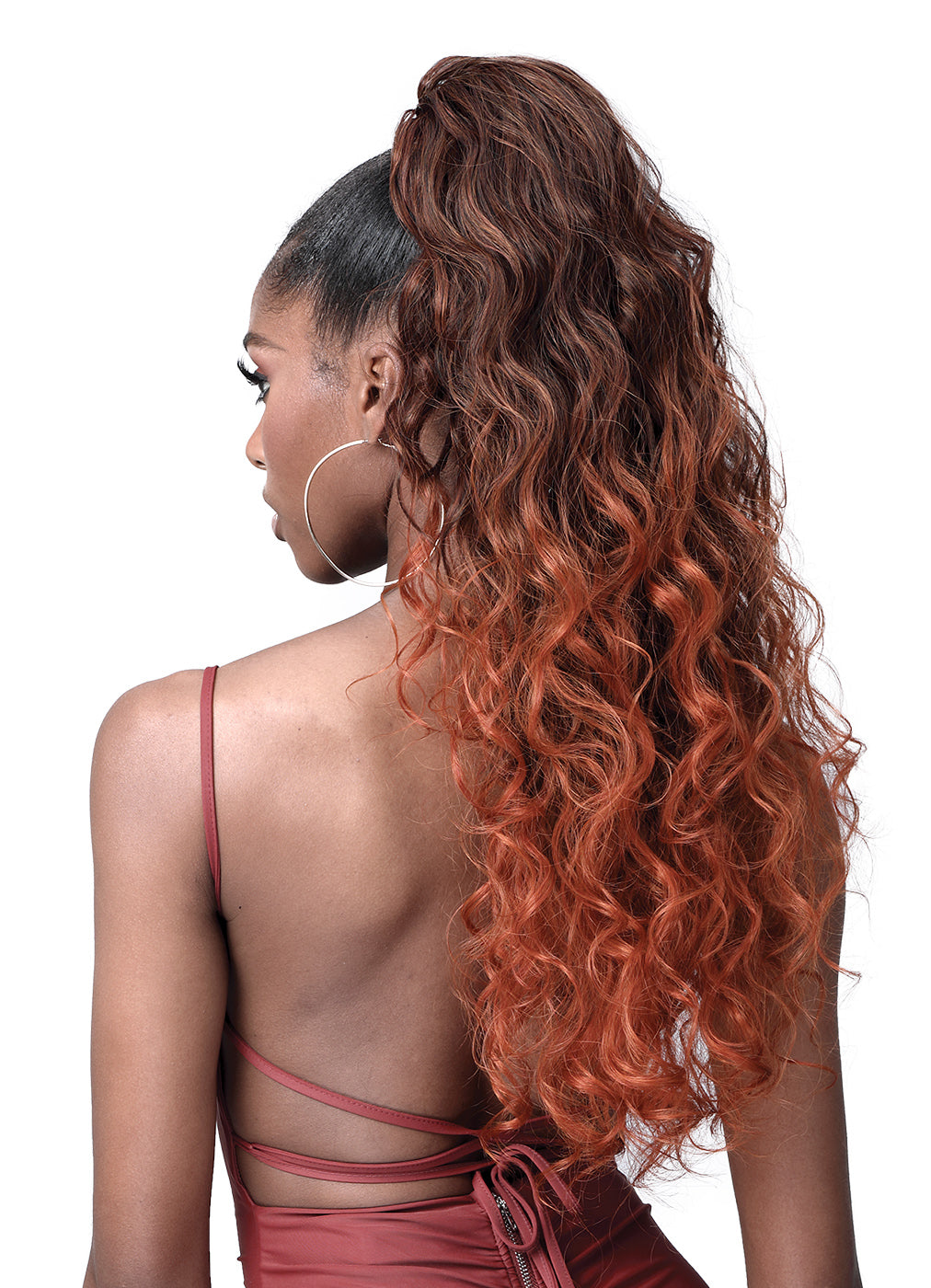 Bobbi Boss Human Hair Blend Tress Up Ponytail OCEAN WAVE 28