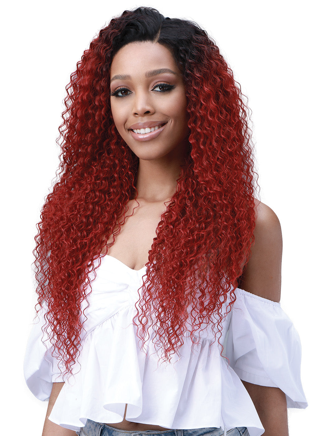 Bobbi Boss Human Hair Blend 13X6 Frontal Lace Wig MOGLWJE26 JERRY CURL 26