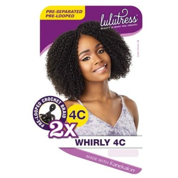 Sensationnel Synthetic Lulutress Crochet Braid 2X WHIRLY 4C 4B (B1G1)