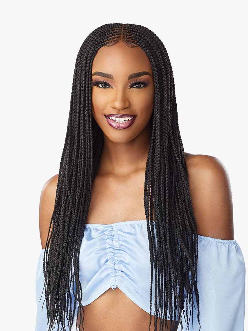 Sensationnel Cloud 9 Synthetic 4x5 Lace Parting Braided HD Swiss Lace Wig CENTER PART FEED IN 28