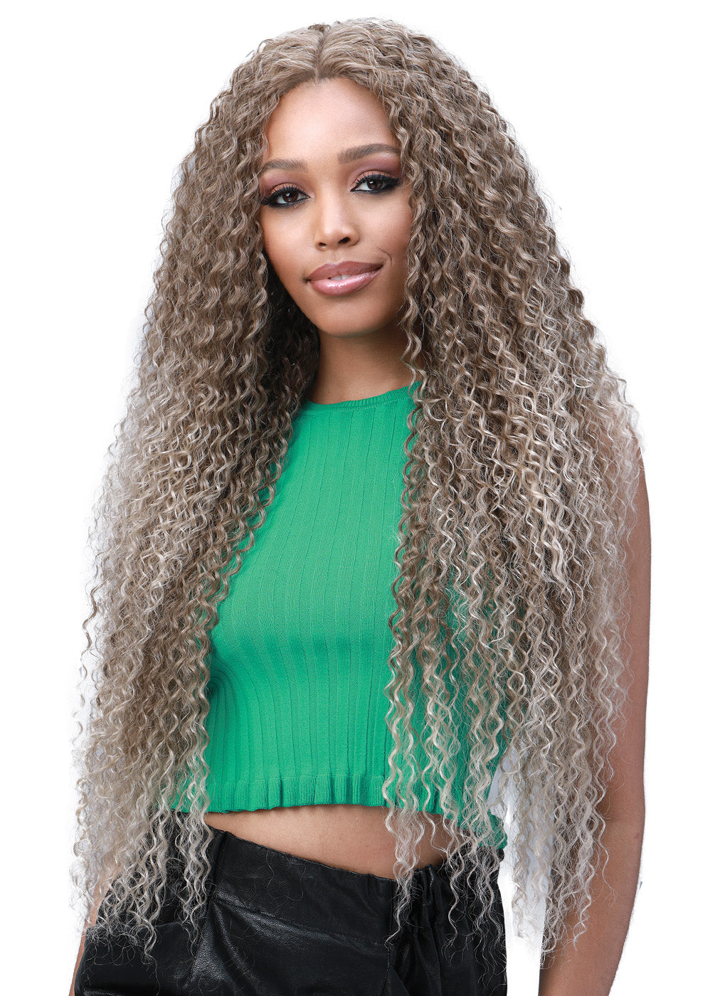 Bobbi Boss Human Hair Blend 13X6 Frontal Lace Wig MOGLWJE32 JERRY CURL 32