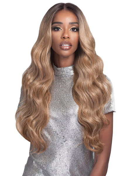 "Bobbi Boss Human Hair Blend 13"" X 4"" Deep Lace Front Wig MBLF190 CARMELA"