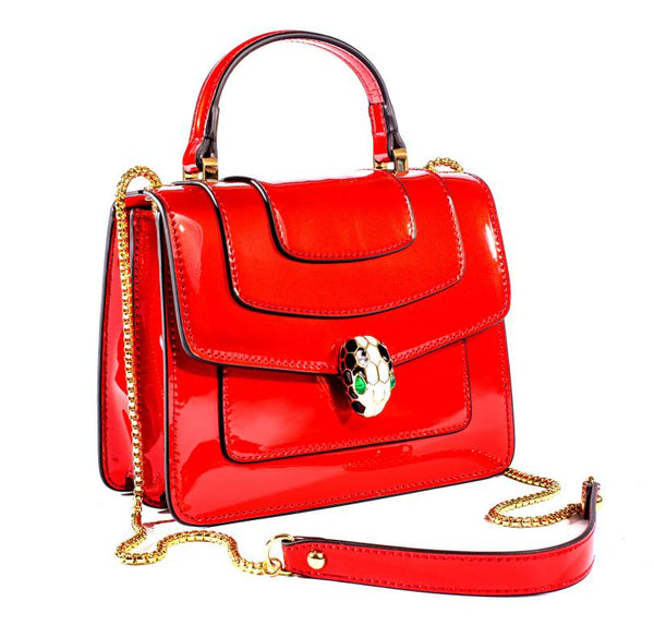 100% Real Leather Elegant Red Ladies bag