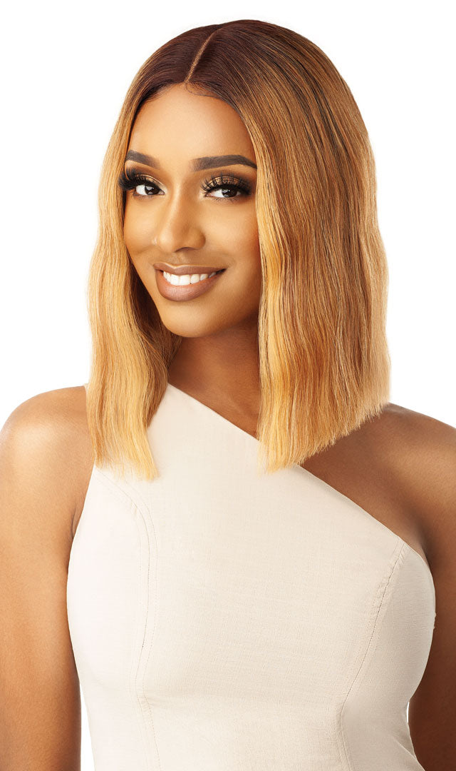 "Outre Blunt Cut Bob Swiss Lace Front 5"" Deep I Parting Wig DORIAN"