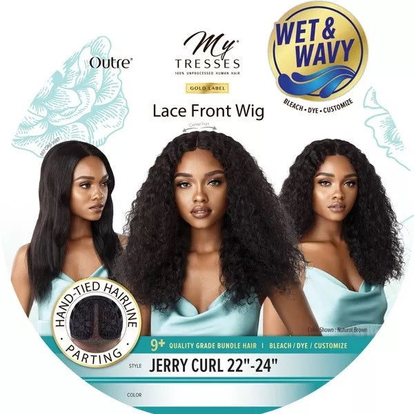 Outre Mytresses Gold Label WET & WAVY 100% Unprocessed Human Hair Lace Front Wig JERRY CURL 22-24