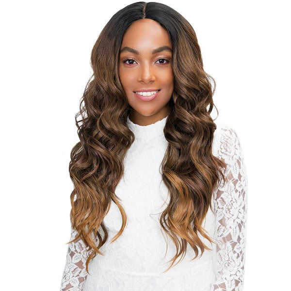 "Janet Collection Human Hair Blend Princess 4"" x 4"" Lace Front Wig CHELSEA"