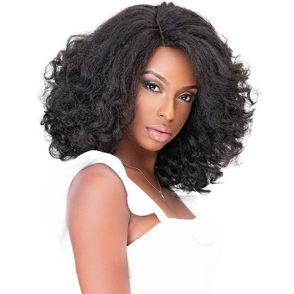 Janet Collection Human Hair Blend Natural Me Deep Part Swiss Lace Front Wig HAZEL