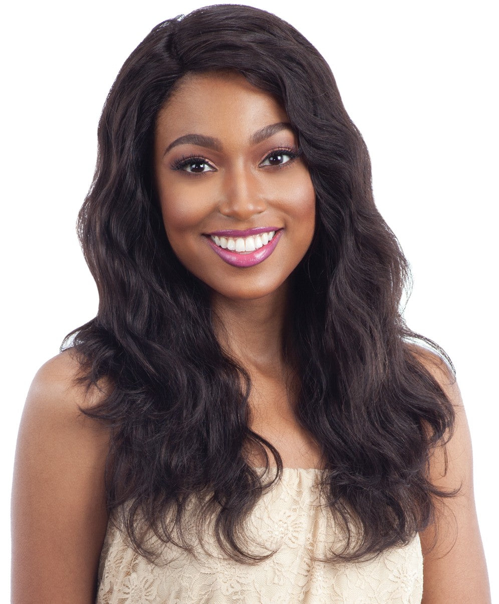 Naked 100% Unprocessed Remy Deep Invisible L-Part Lace Front Wig NATURAL WAVY