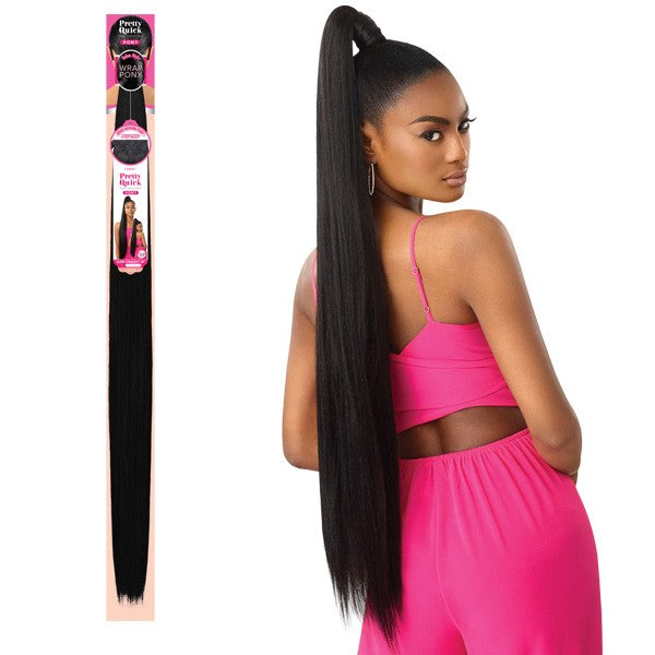 Outre Synthetic Pretty Quick Wrap Pony KINKY STRAIGHT 36""