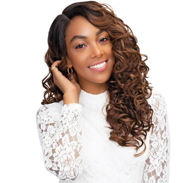 "Janet Collection Human Hair Blend Princess 4"" x 4"" Lace Front Wig SYNDRA"
