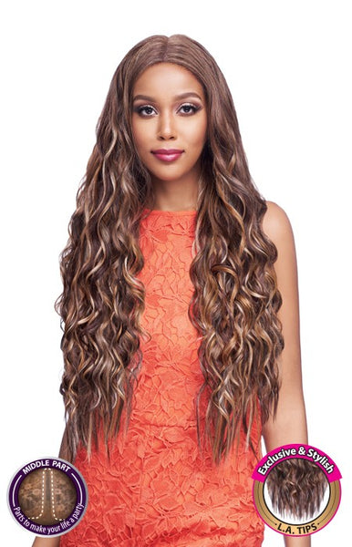 Vanessa Human Hair Blend Middle Part Designer Lace Front Wig TMLA MALIBU