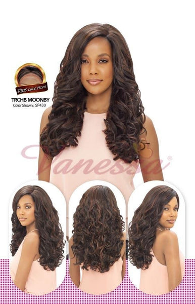 Vanessa Honey C Brazilian Human Hair Blend Lace Front Wig TRCHB MOONBY