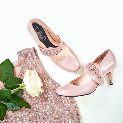 Blush Shoes and Blush Dress with White Rose
