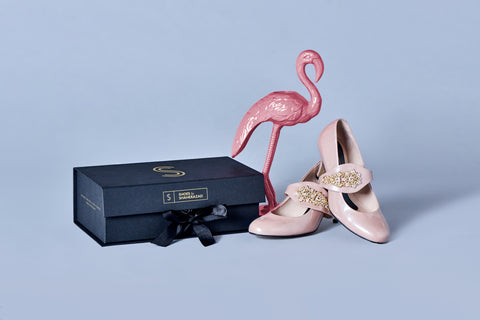 Blush pink shoes, shoe box and flamingo