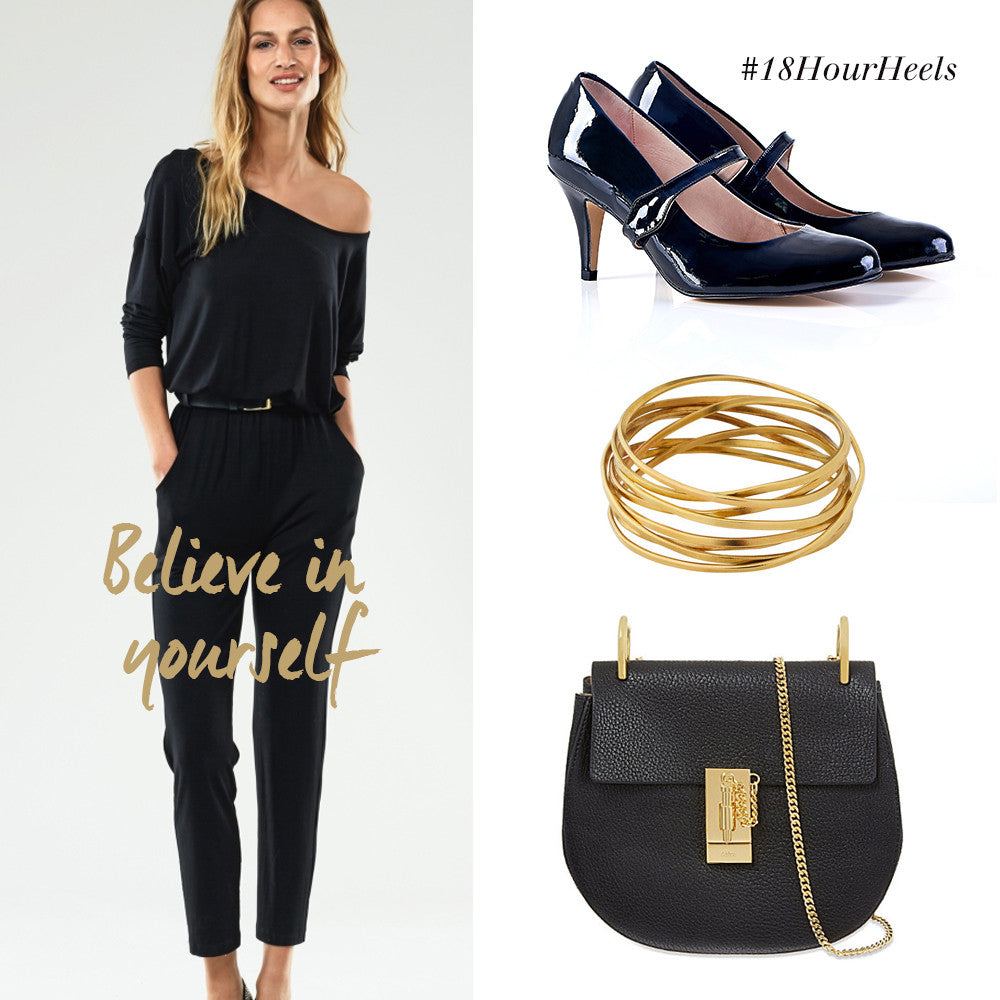 Black Jump Suit and black patent shoes
