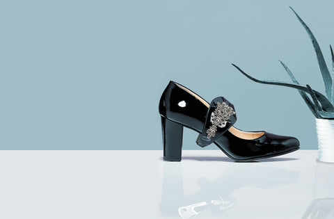 Shoes by Shaherazad block heel in black with embellished strap