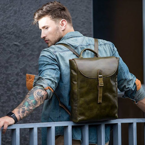 Man with a Voyager Leather Rucksack