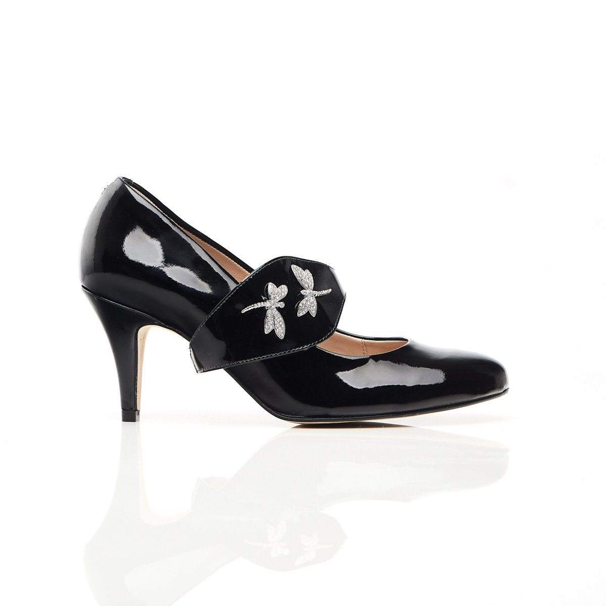 Black Patent Leather Shoes - Dragonfly