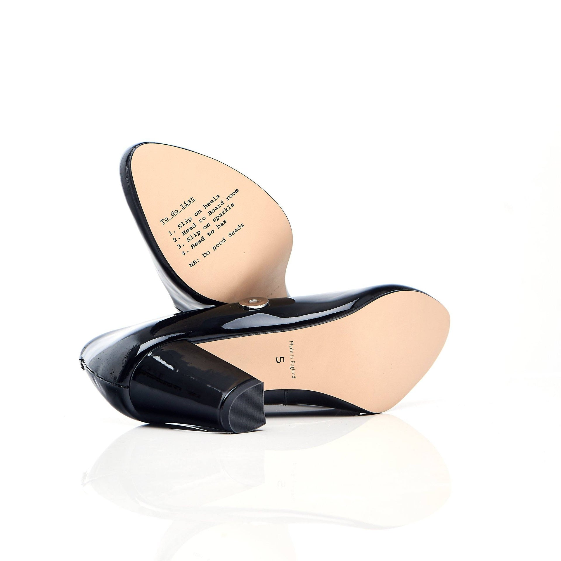 Black patent block heel shoes