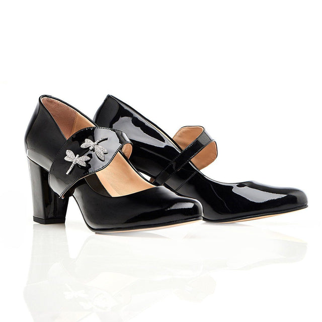 Black Leather heels with dragonflies