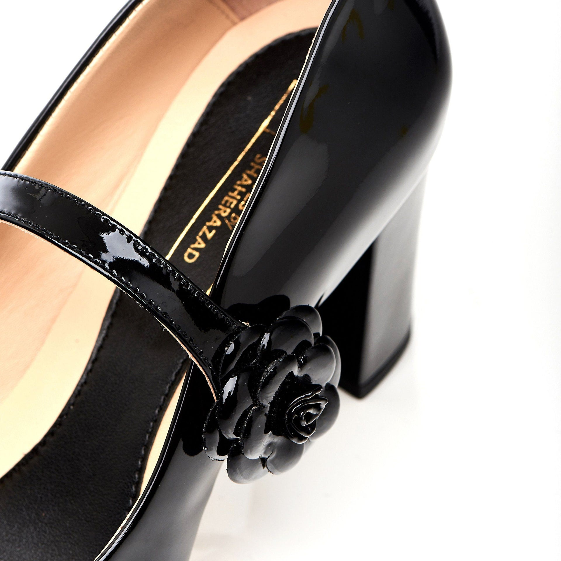Don't Wait Up - Block Heels - Black Leather - Shoes by Shaherazad