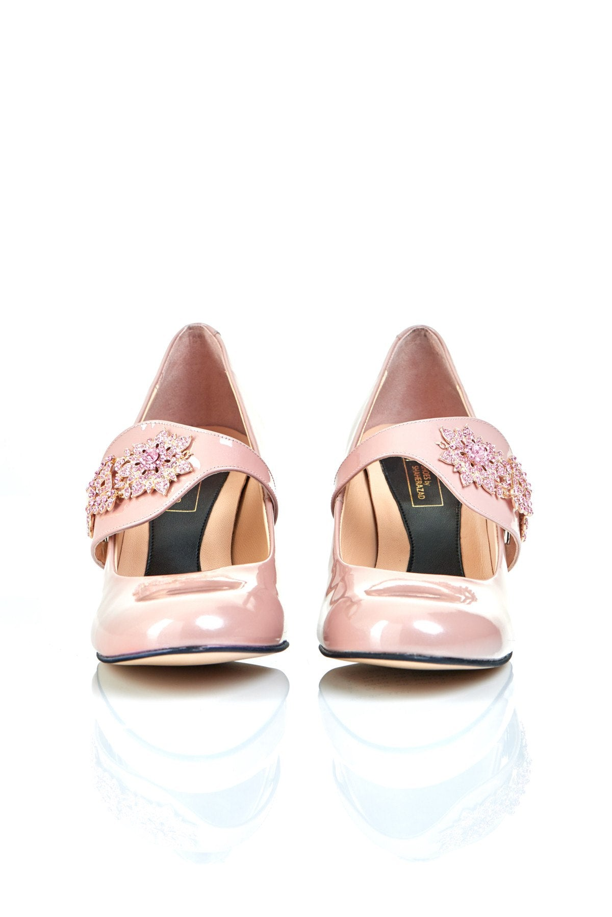 Equally Ever After in Pink Gems - 18 Hour Heels - Blush Leather - Shoes by Shaherazad