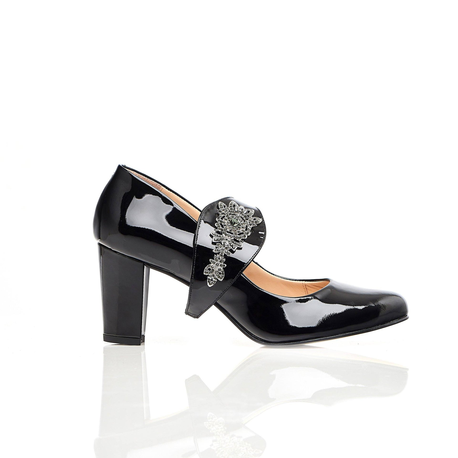 The Moon is Mine in Black Gems - Block Heels - Black Leather - Shoes by Shaherazad